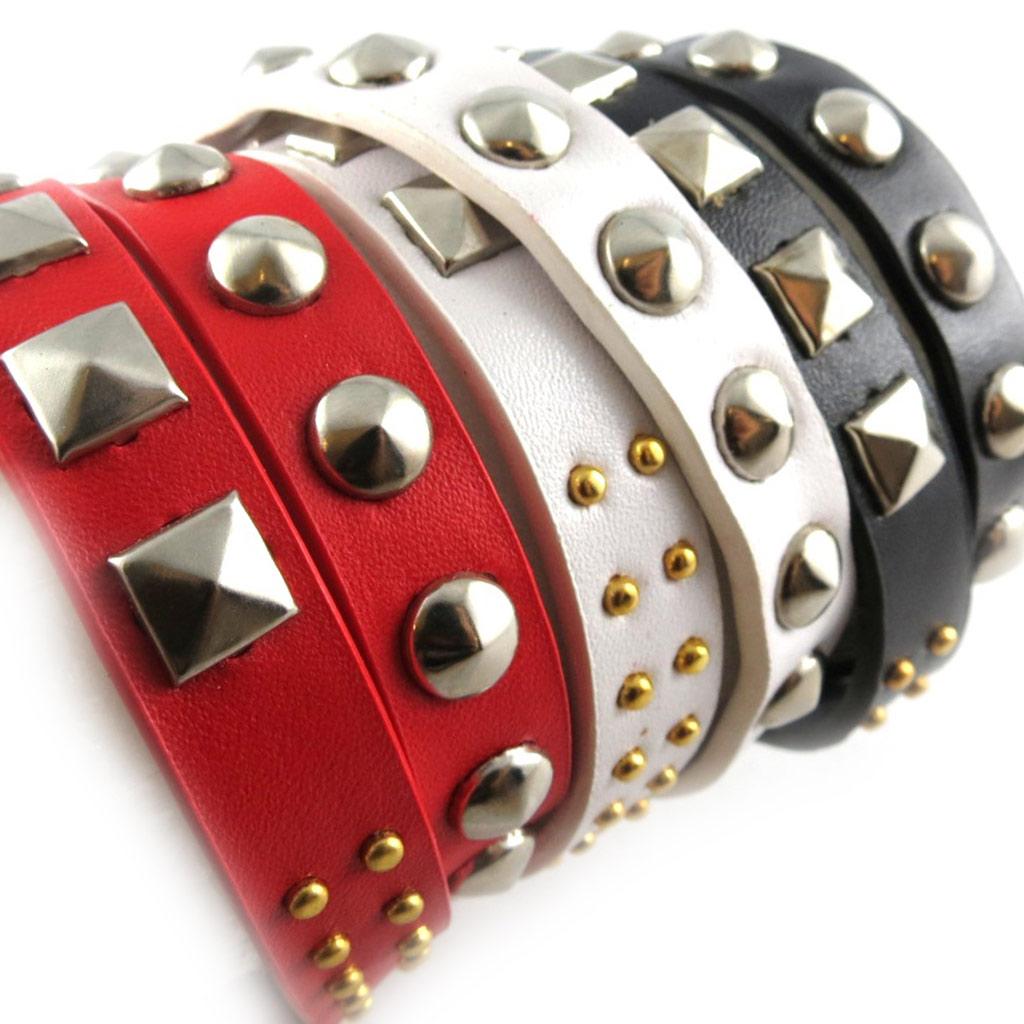 3 bracelets cuir \'Authentik\' rouge blanc noir - [K6957]