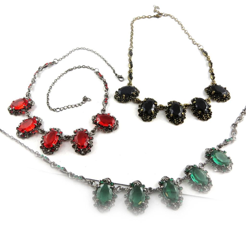 3 colliers créateur \'Scarlett\' rouge vert noir - [K6968]