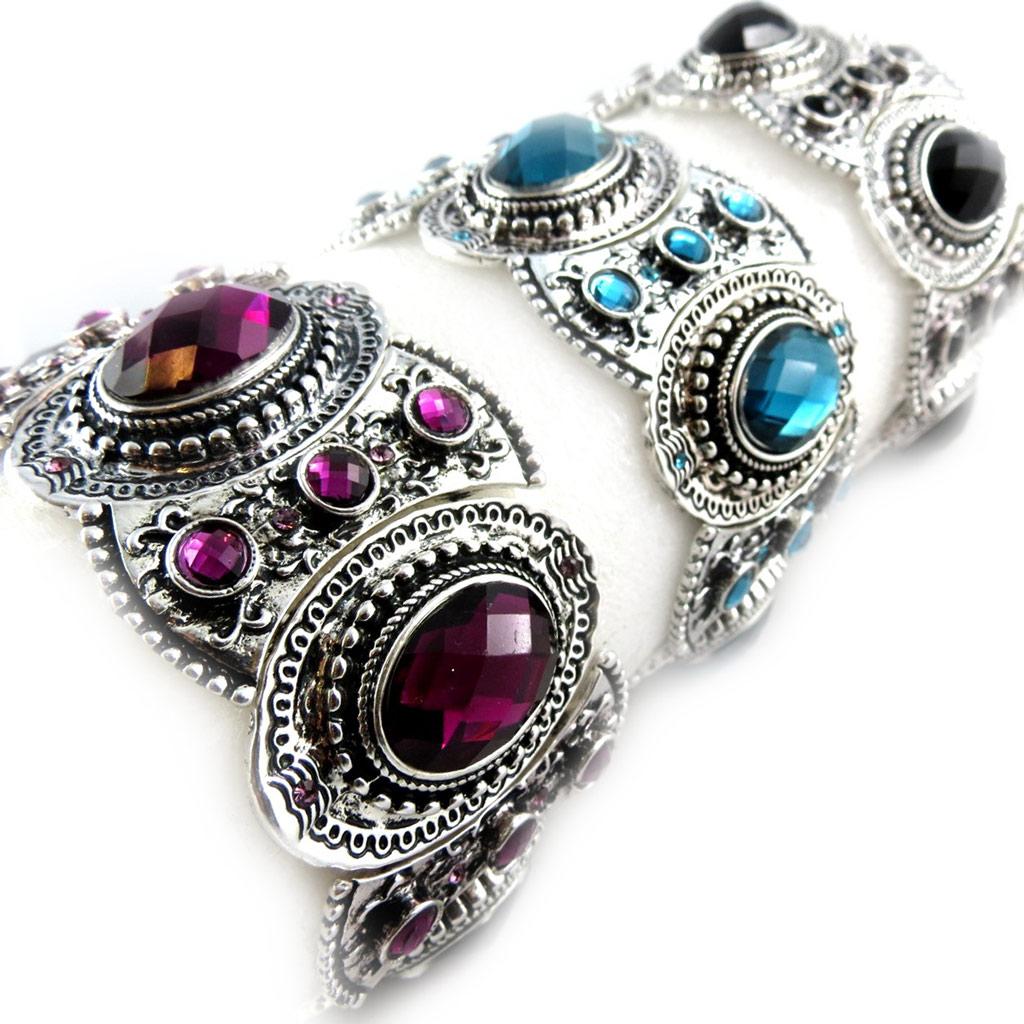 3 bracelets baroques \'Scarlett\' violet turquoise noir - [K6976]