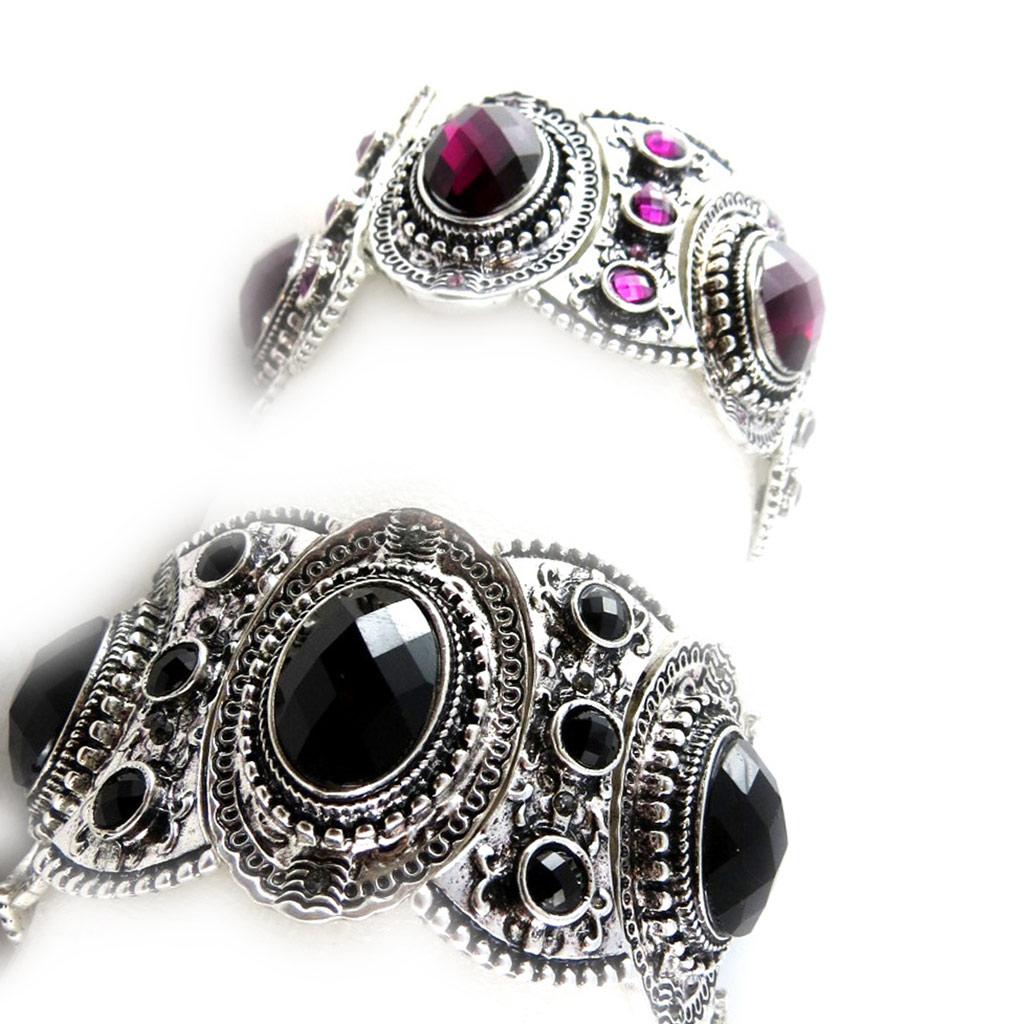 2 bracelets baroques \'Scarlett\' violet noir - [K6977]