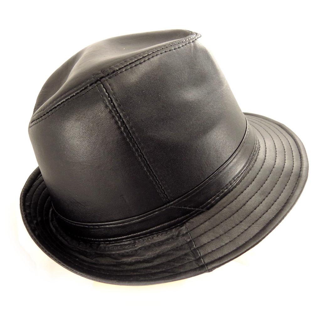 Borsalino cuir \'Giorgio\' noir  - [K7625]