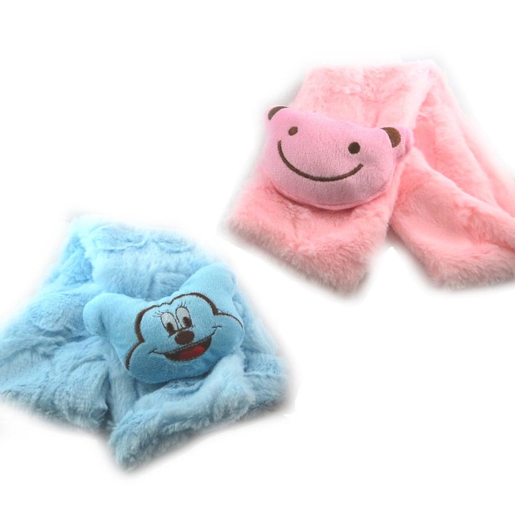 2 écharpes enfant \'Un amour d\'Animaux\' bleu rose - [K7876]