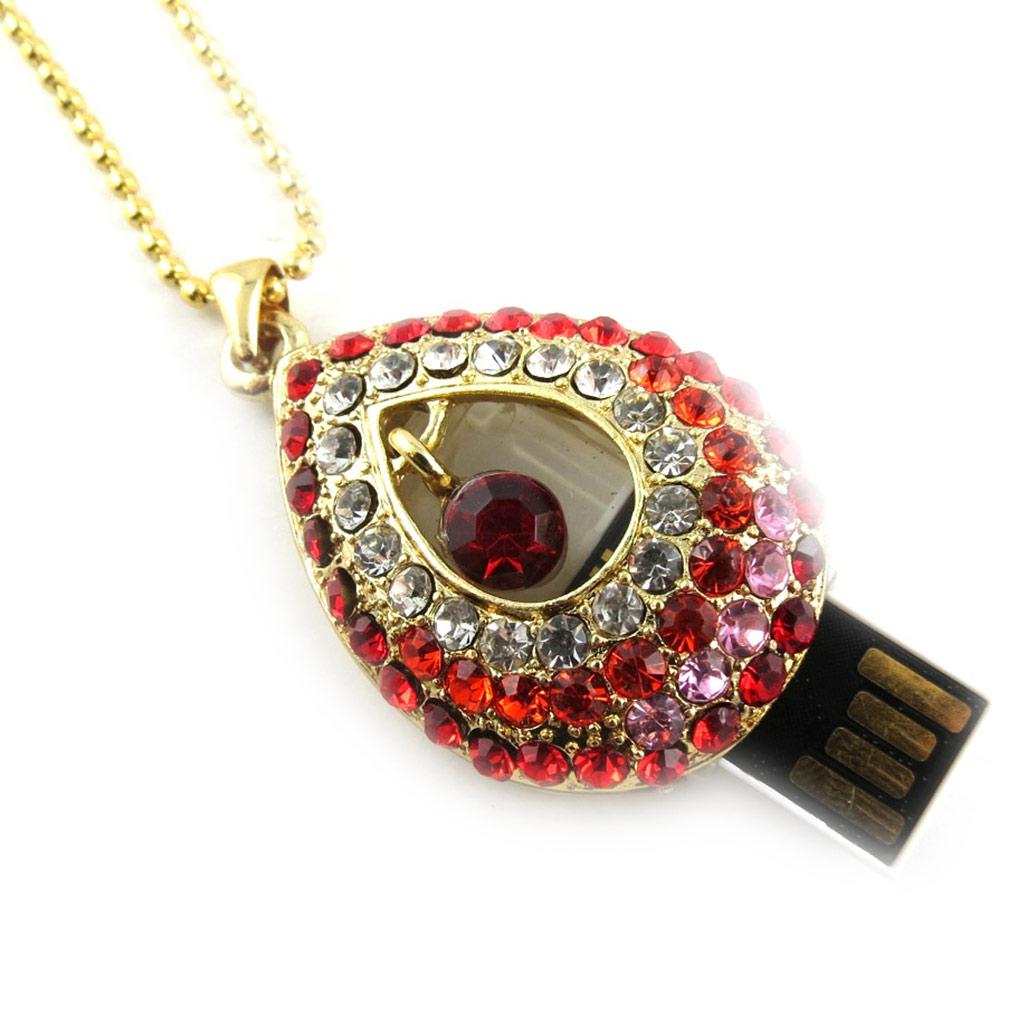 Clé USB collier \'Scarlett\' rouge doré (8Go) - [K8022]