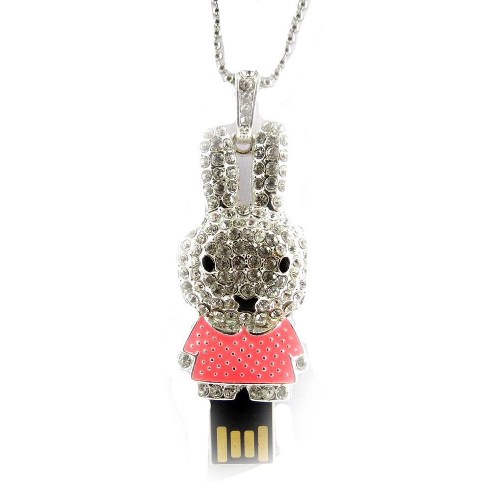 Clé USB collier \'Lapinou\' rose argenté (8Go) - [K8029]