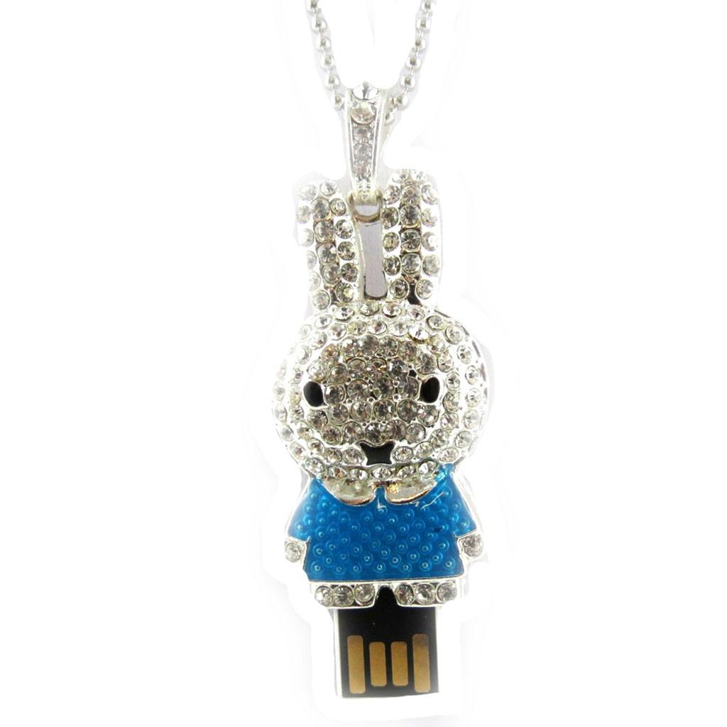 Clé USB collier \'Lapinou\' bleu argenté (8Go) - [K8037]
