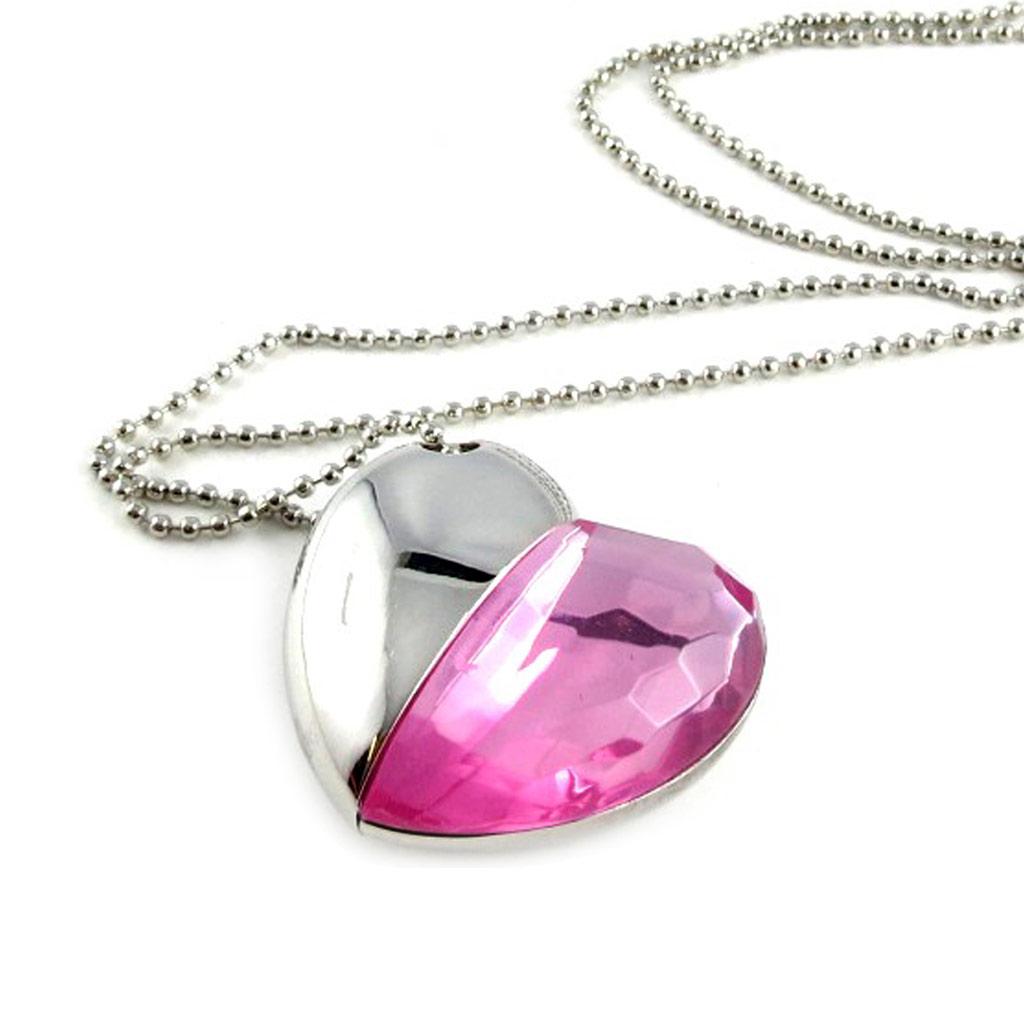 Clé USB collier \'Love\' rose chrome (8Go) - [L0573]