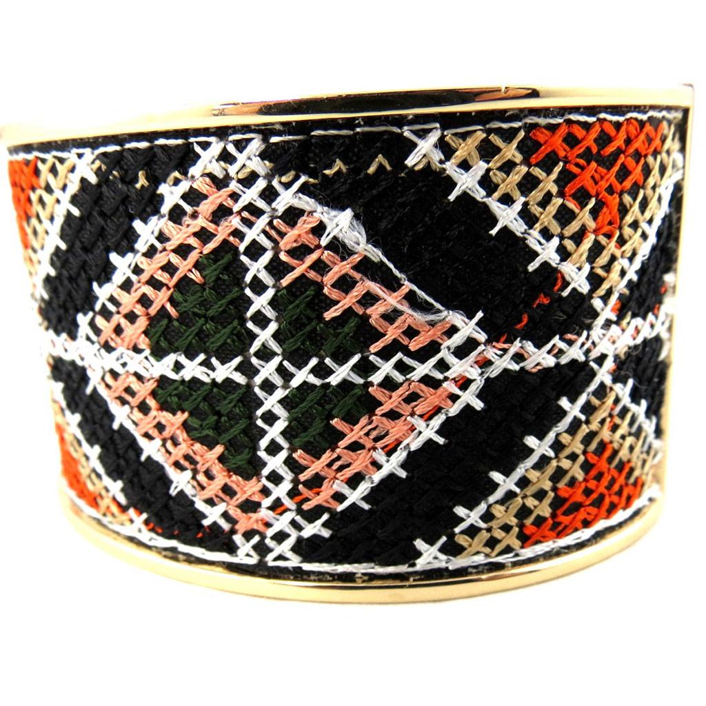 Bracelet créateur \'Desigual\' noir orange - [M2352]