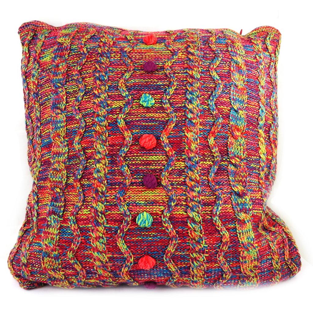 Coussin créateur \'Desigual\' rouge multicolore (44x44 cm) - [M2926]
