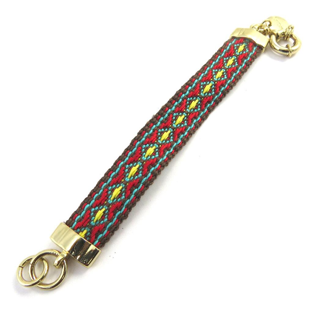 Bracelet créateur \'Desigual\' vert rouge doré - [M3290]