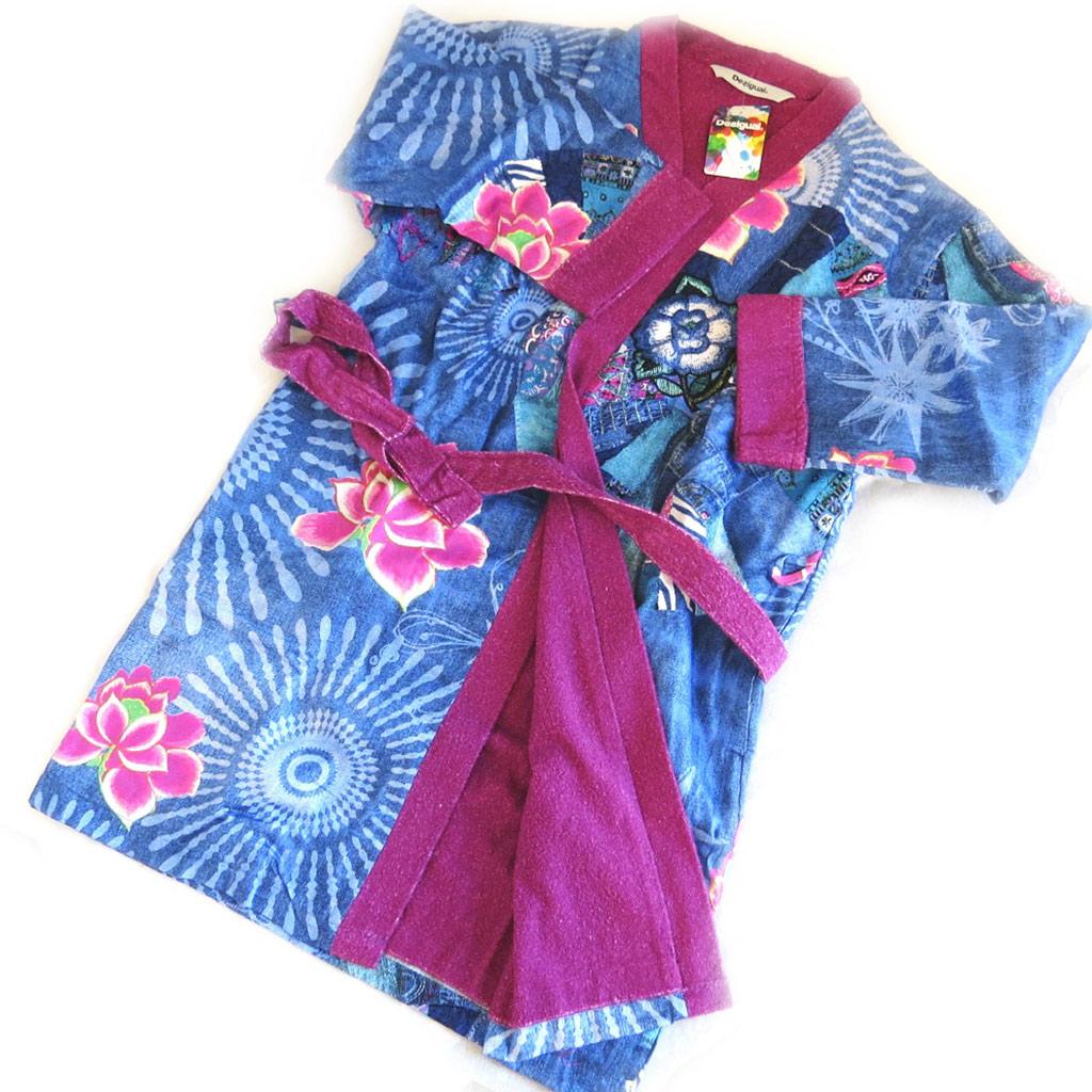 Sortie de bain créateur \'Desigual\' bleu jean\'s violet - [M8502]