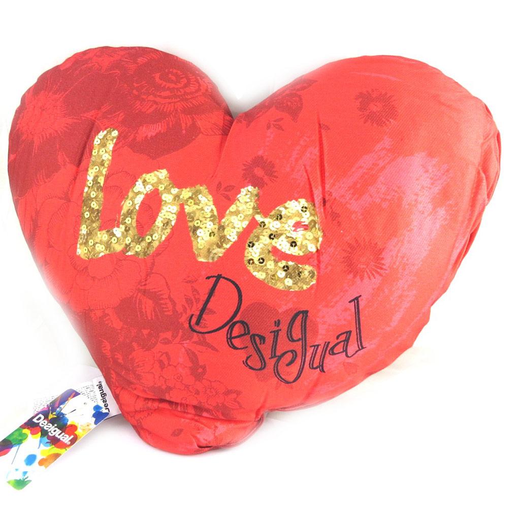 Coussin créateur \'Desigual\' rouge doré - love (50x45 cm) - [M8556]