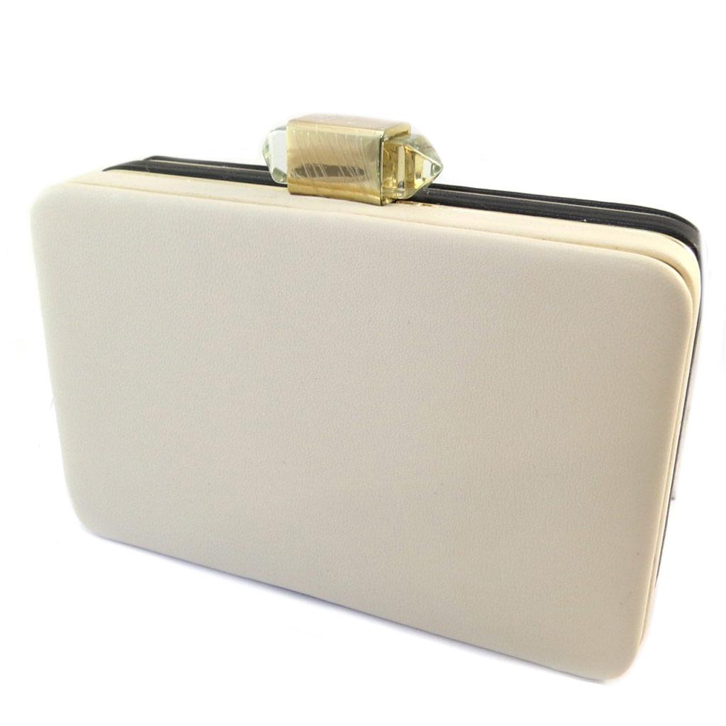 Sac Pochette \'Kate\' bicolore noir beige - 16x10x4 cm - [P1872]