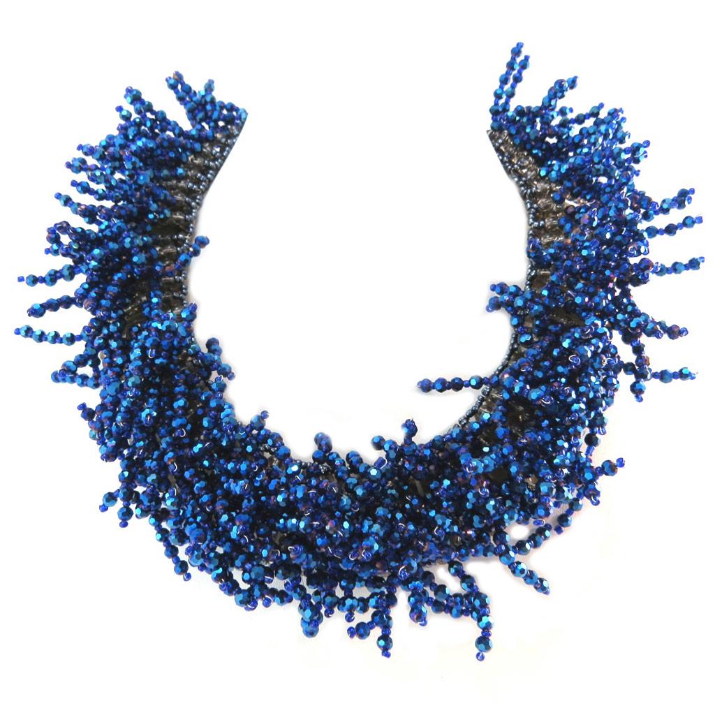 Collier artisanal \'Callas\' bleu nuit - 42x3 cm - [P4409]