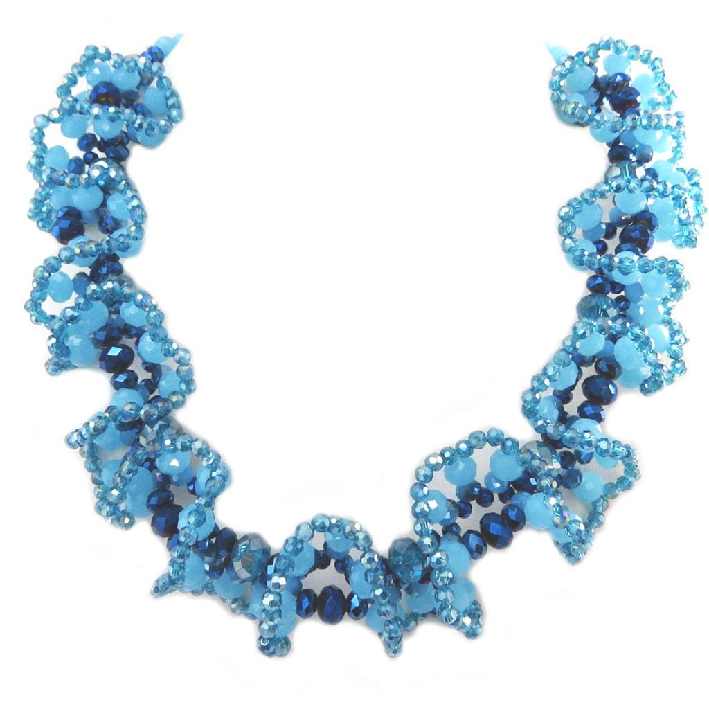 Collier artisanal \'Callas\' bleu turquoise - 45x5 cm - [P4410]