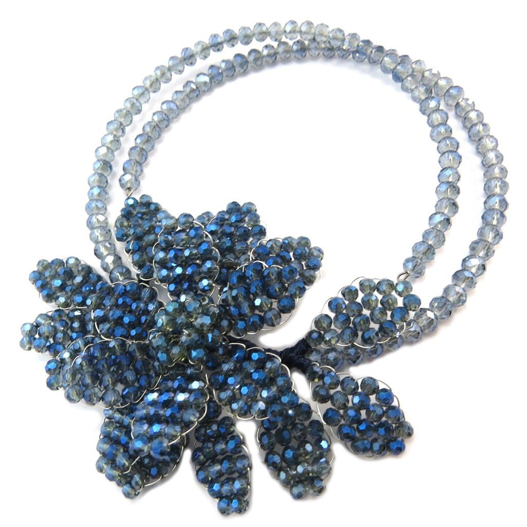 Collier artisanal \'Callas\' bleu gris - 105x75 cm - [P4411]