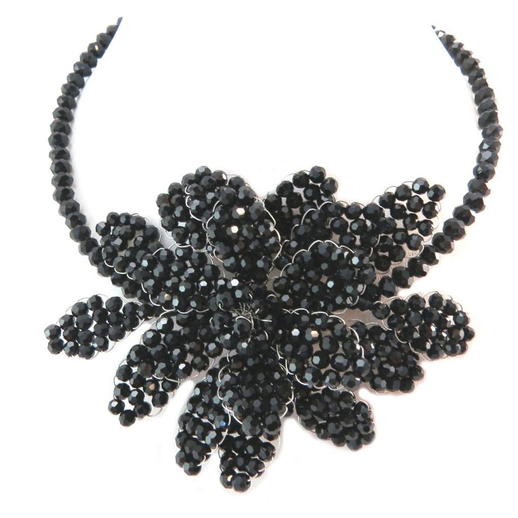 Collier artisanal \'Callas\' noir - 105x75 cm - [P4413]