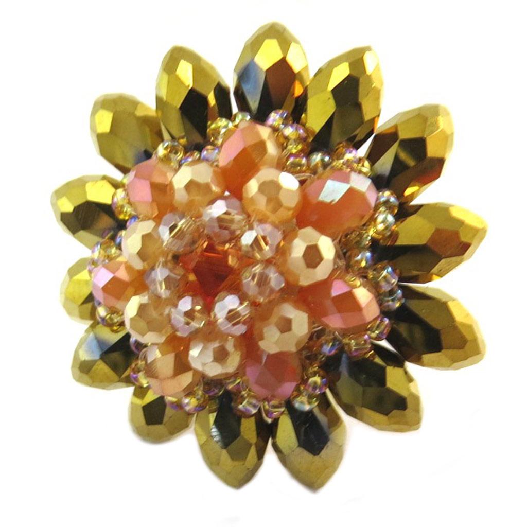 Bague artisanale \'Callas\' orange doré - 4 cm - [P4418]