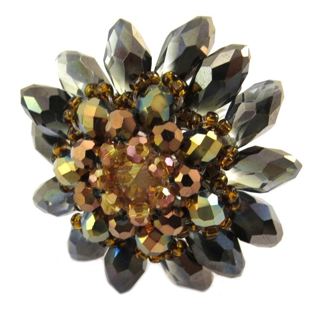 Bague artisanale \'Callas\' marron gris - 4 cm - [P4420]
