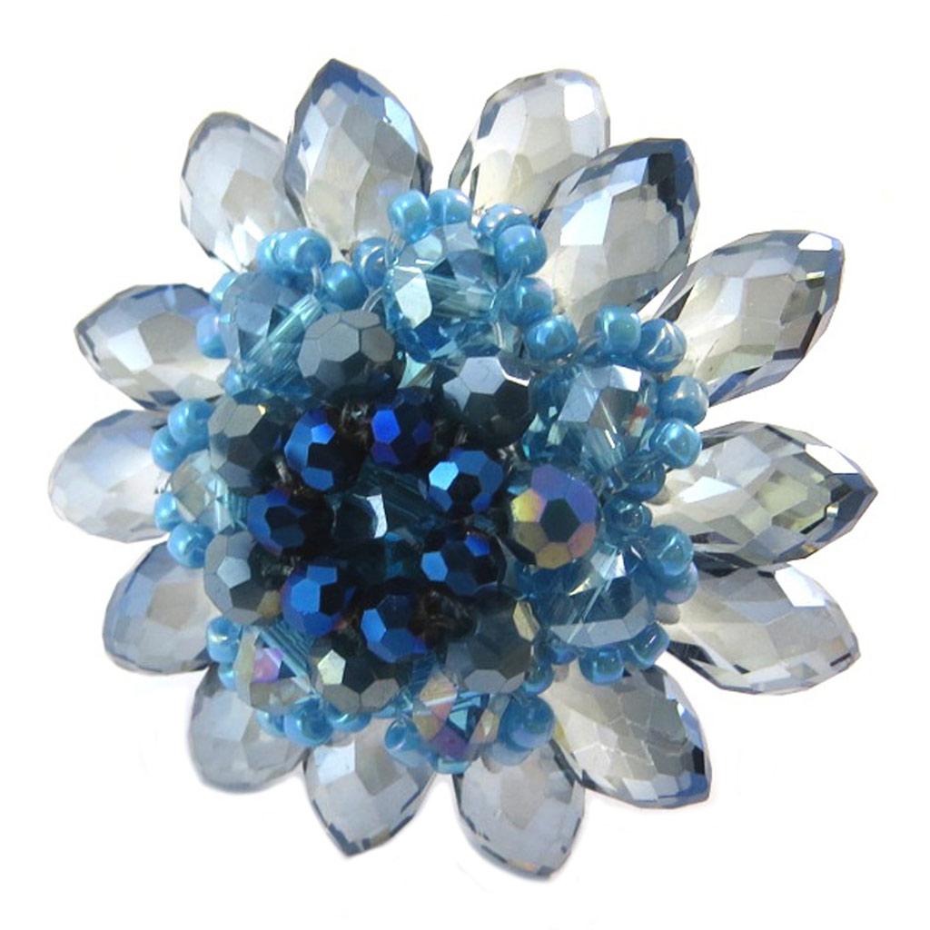 Bague artisanale \'Callas\' bleu turquoise - 4 cm - [P4423]