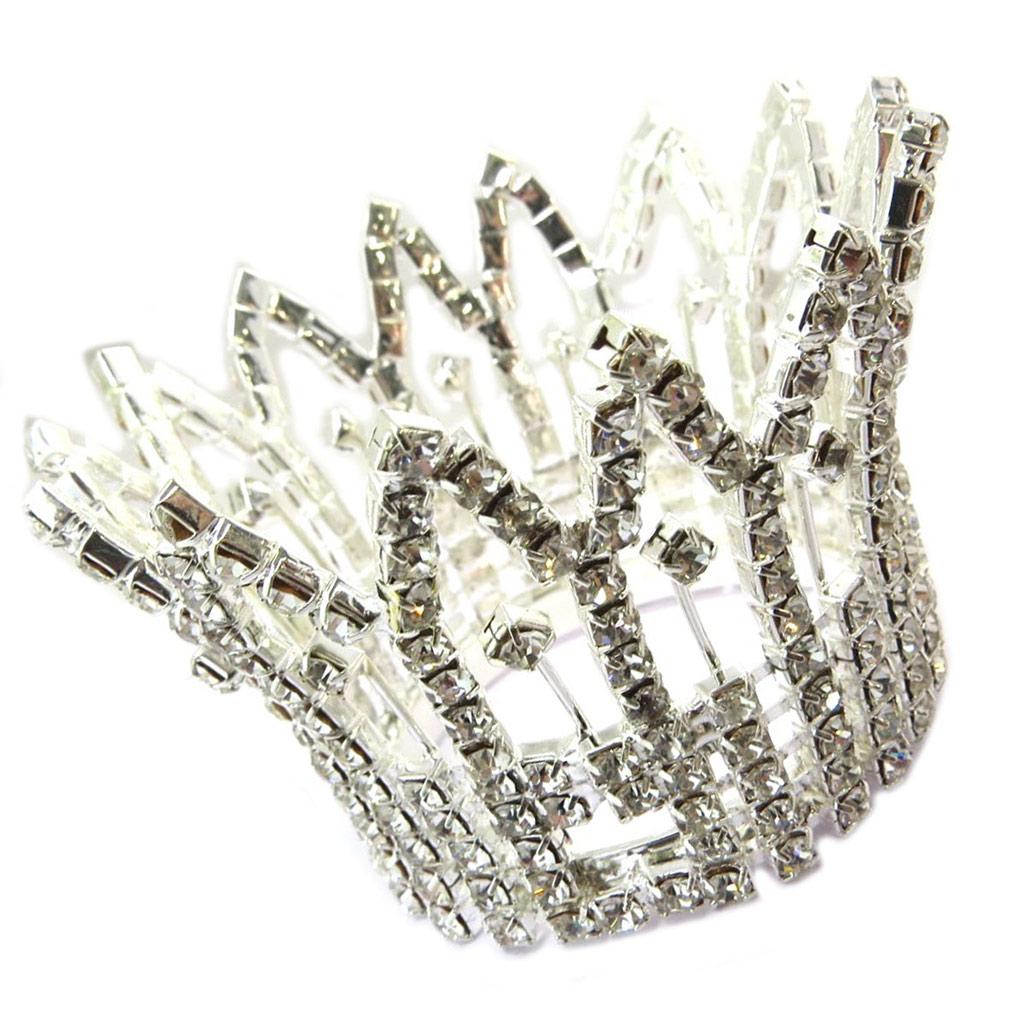 Petite couronne \'Sissi\' blanc argenté - 48x45 mm - [P4785]