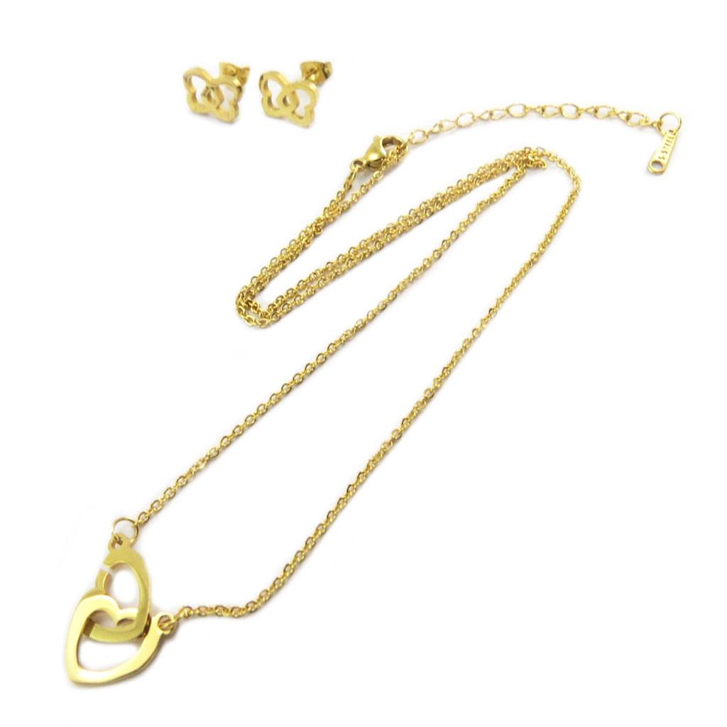 Parure collier + boucles acier \'Love\' doré  - [P4897]