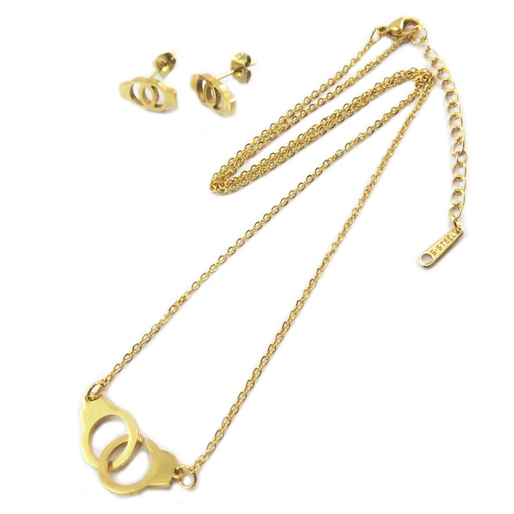 Parure collier + boucles acier \'Love\' doré  - [P4900]