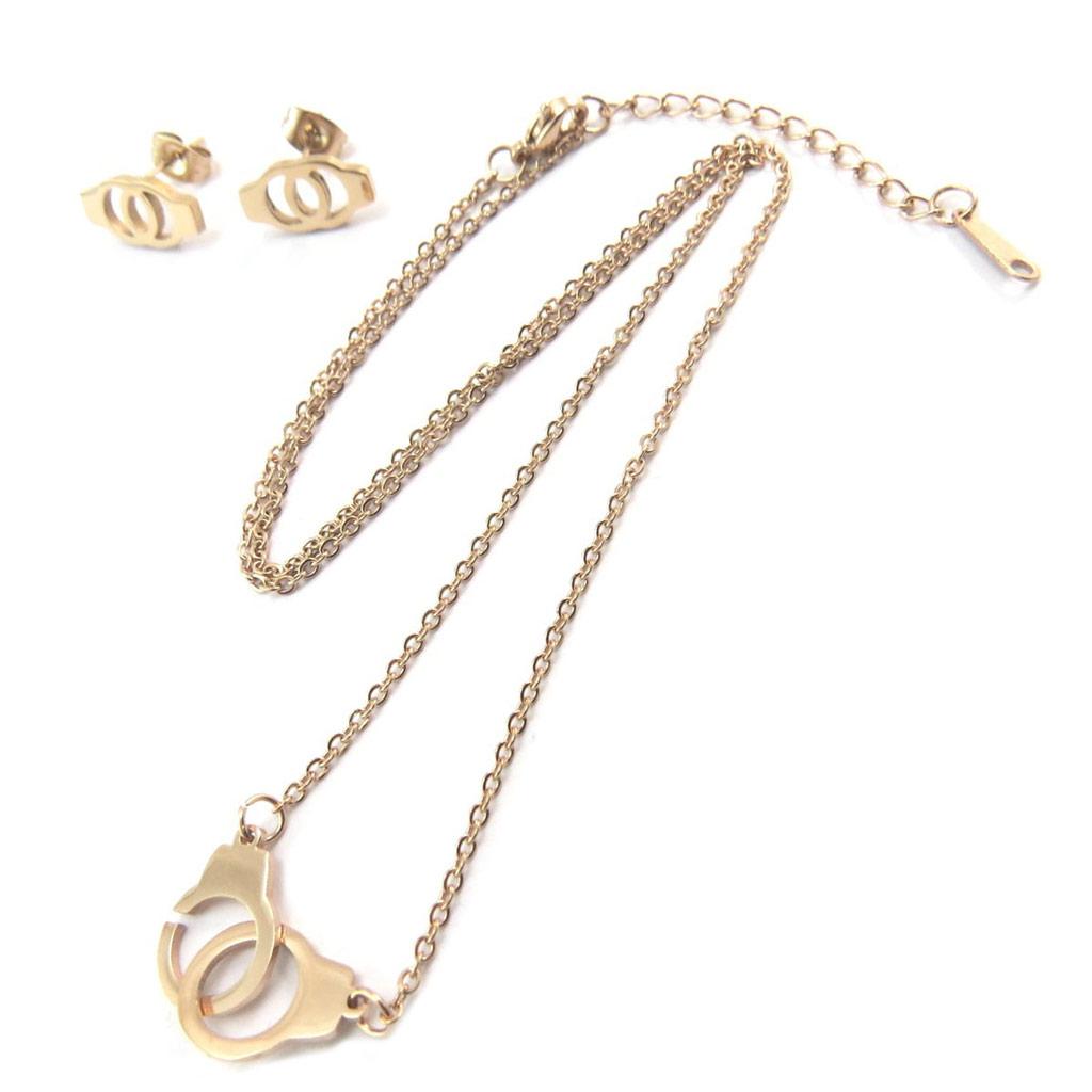 Parure collier + boucles acier \'Love\' doré rosé (gold pink) - [P5051]