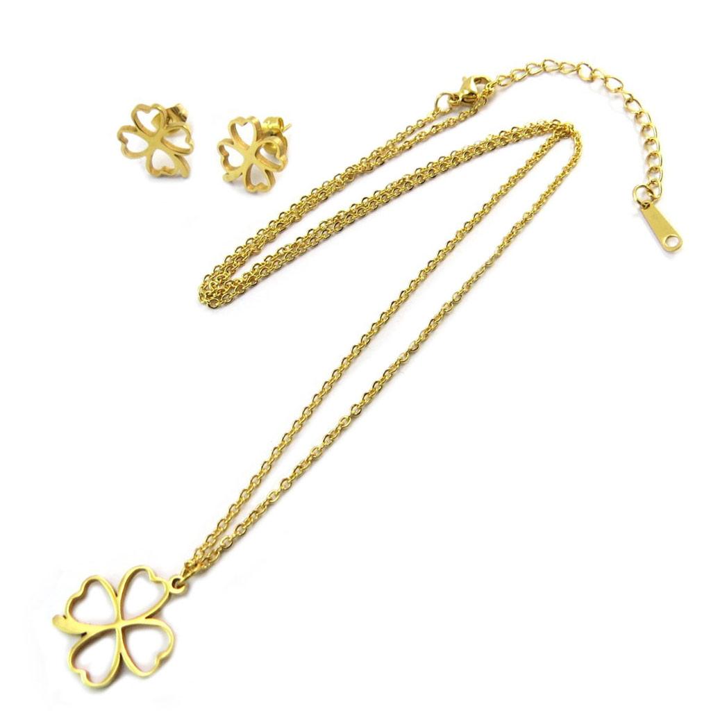 Parure collier + boucles acier \'Trèfle\' doré  - [P5053]
