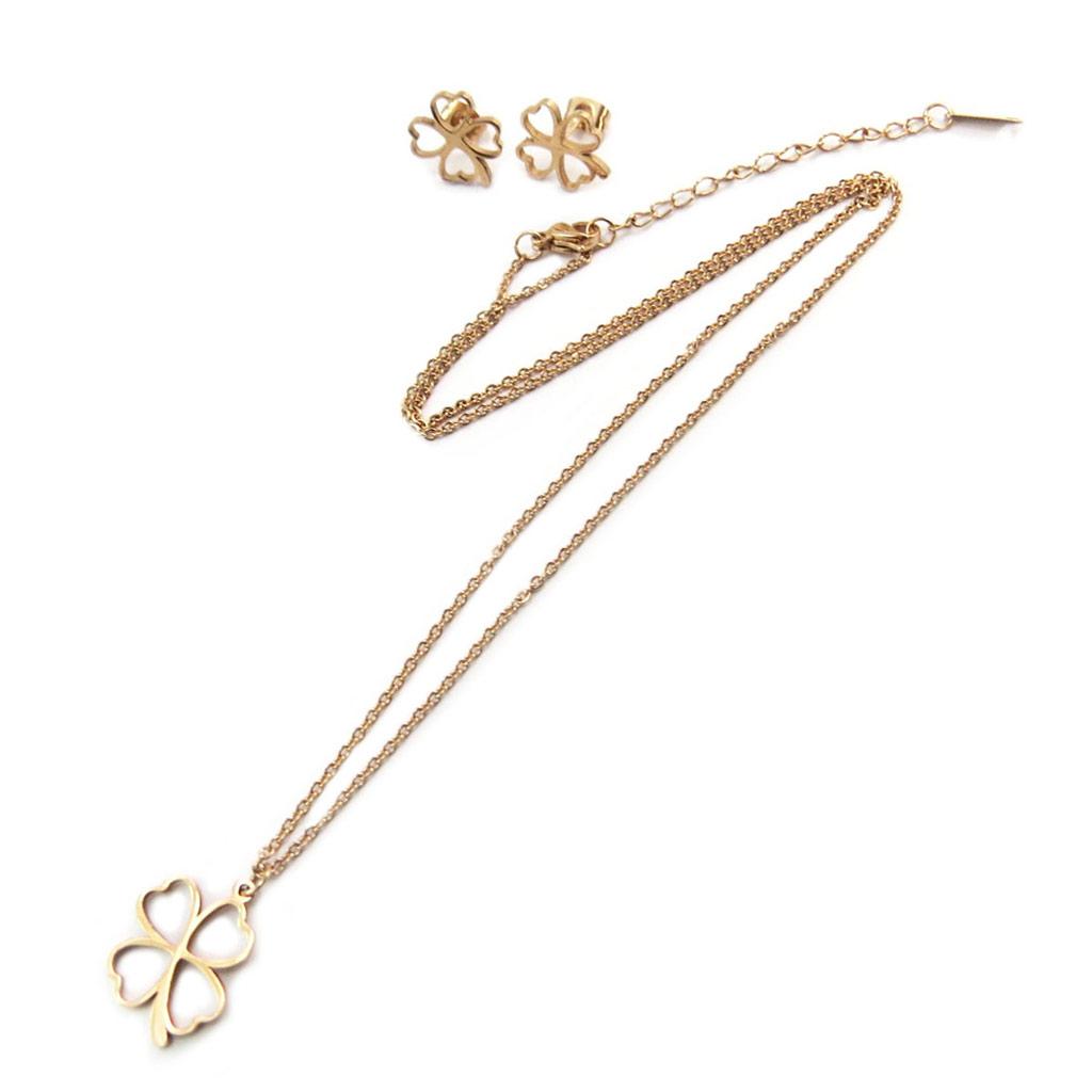 Parure collier + boucles acier \'Trèfle\' doré rosé (gold pink) - [P5055]