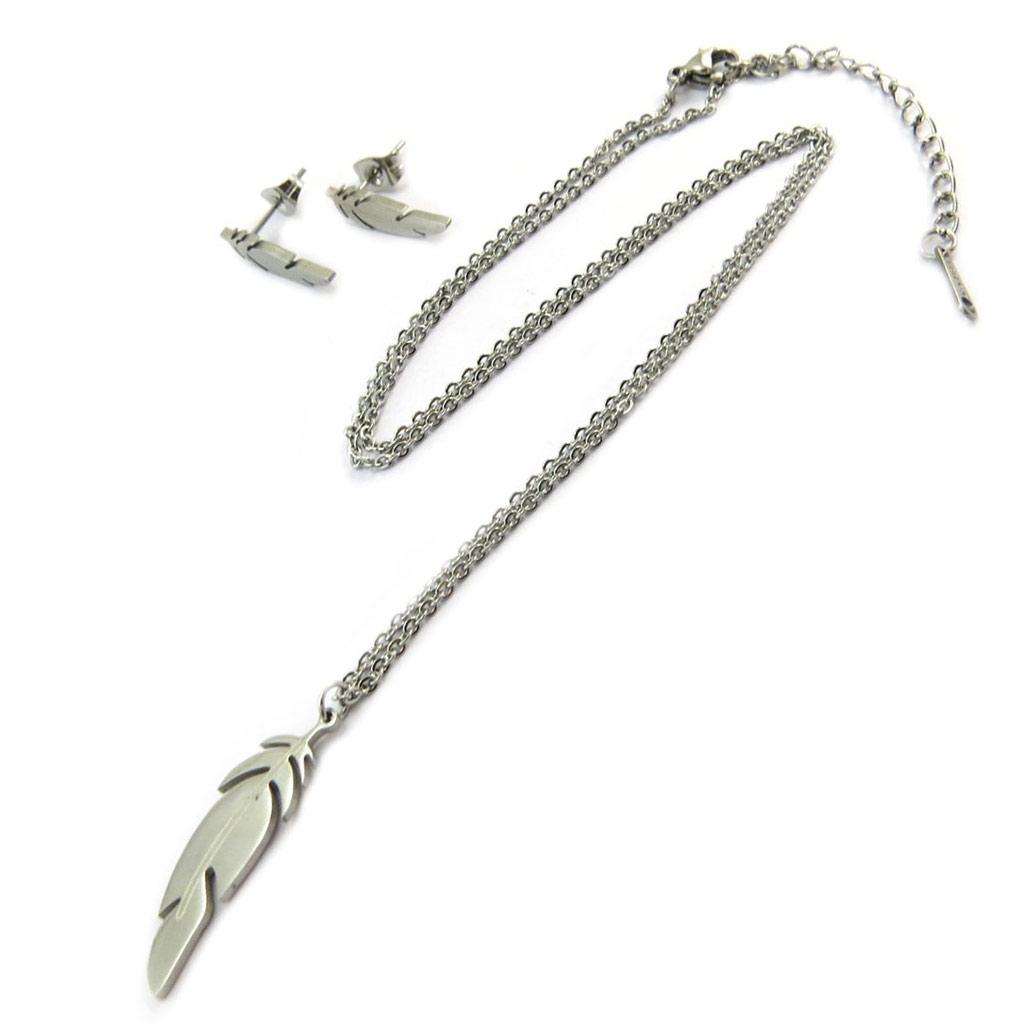 Parure collier + boucles acier \'Navajos\' argenté (plumes) - [P5058]