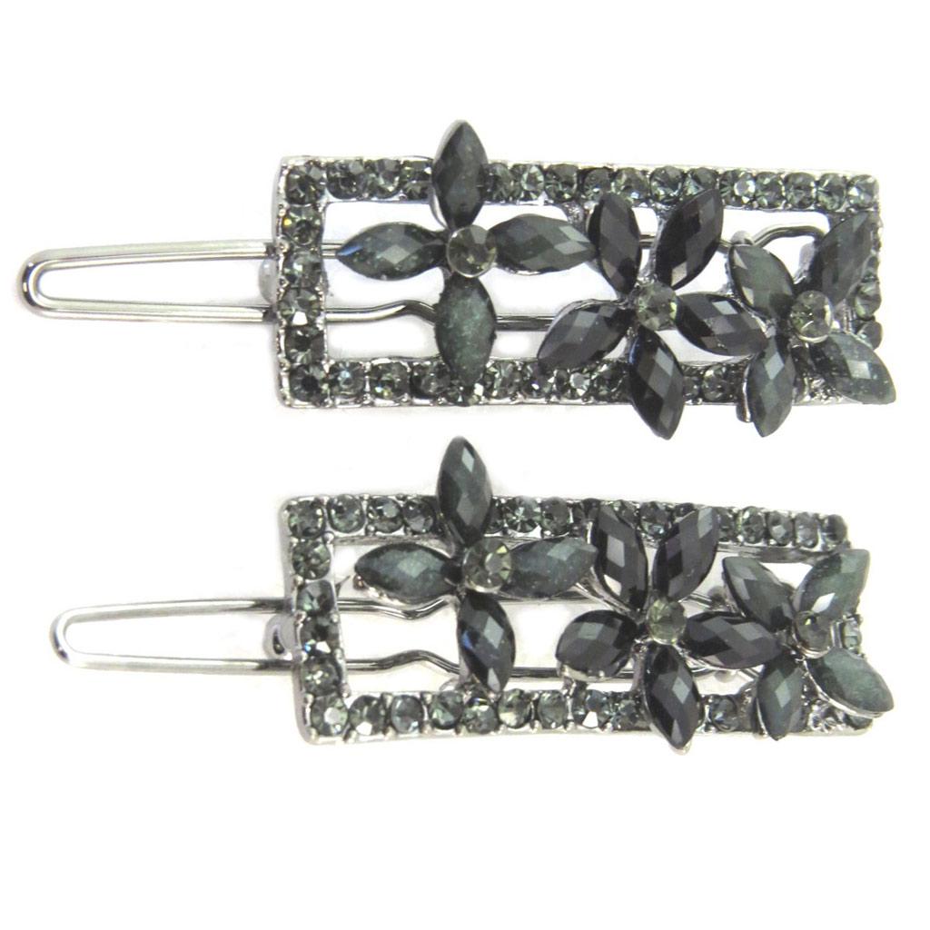 2 barrettes boules \'Sissi\' gris argenté (fleurs) - 45 mm, 34x15 mm - [P6279]