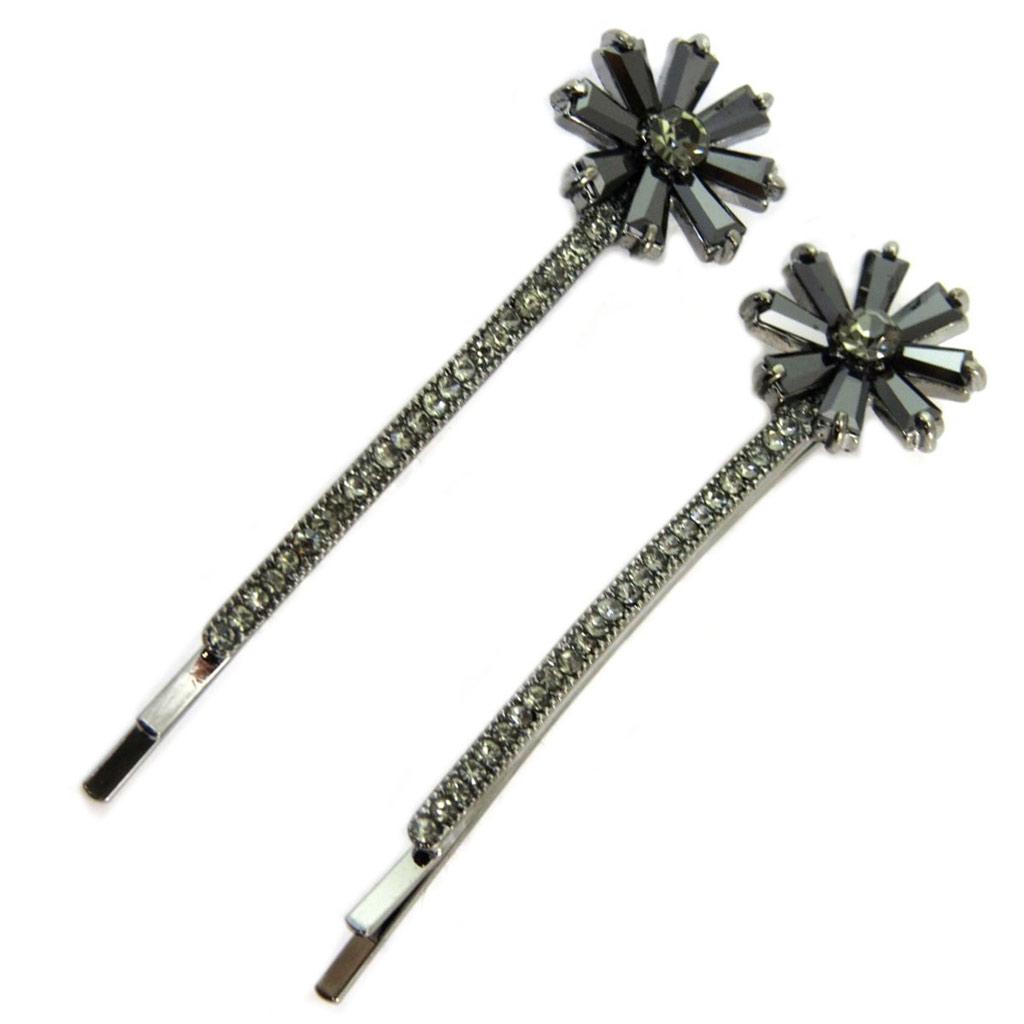 2 barrettes / épingles plates \'Sissi\' gris (fleurs) - 55x15 mm - [P6288]