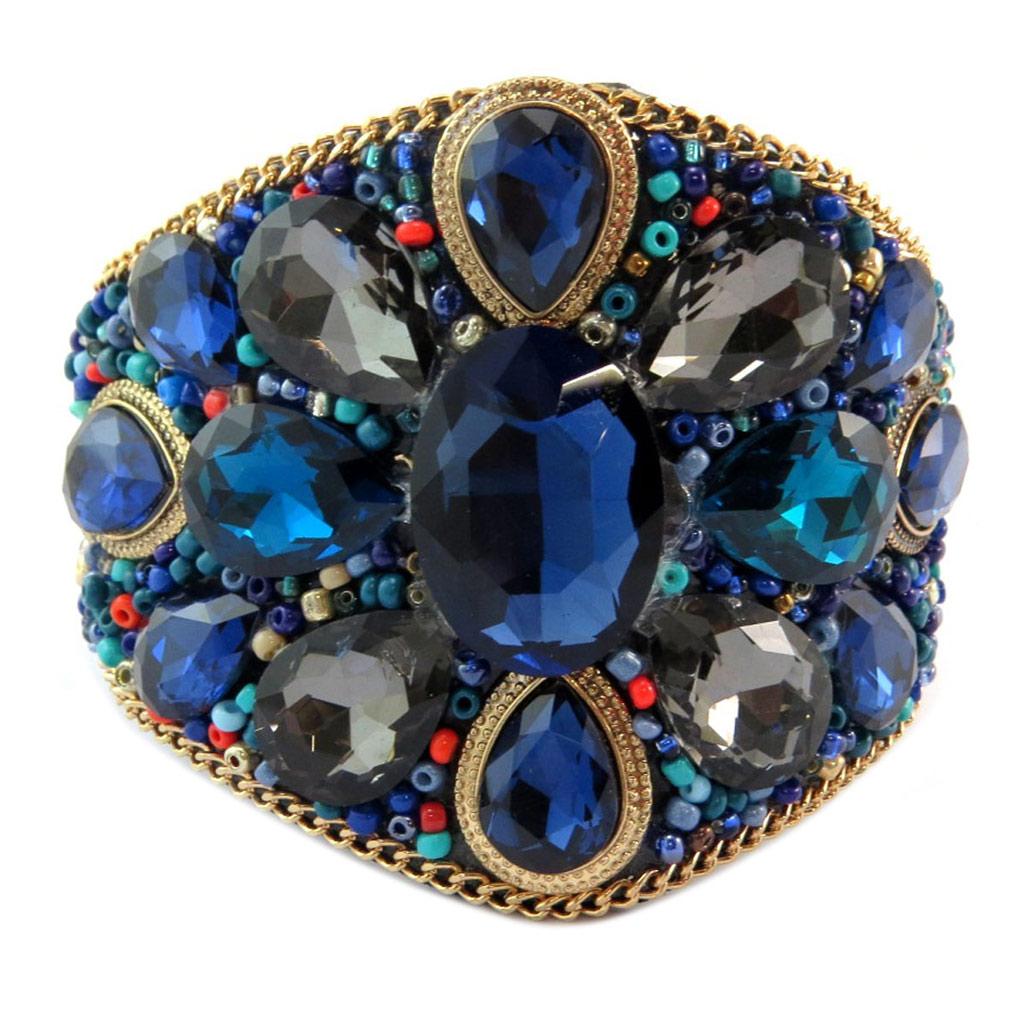 Bracelet créateur \'Bohemian Rhapsody\' bleu doré - 19x6 cm - [P6566]
