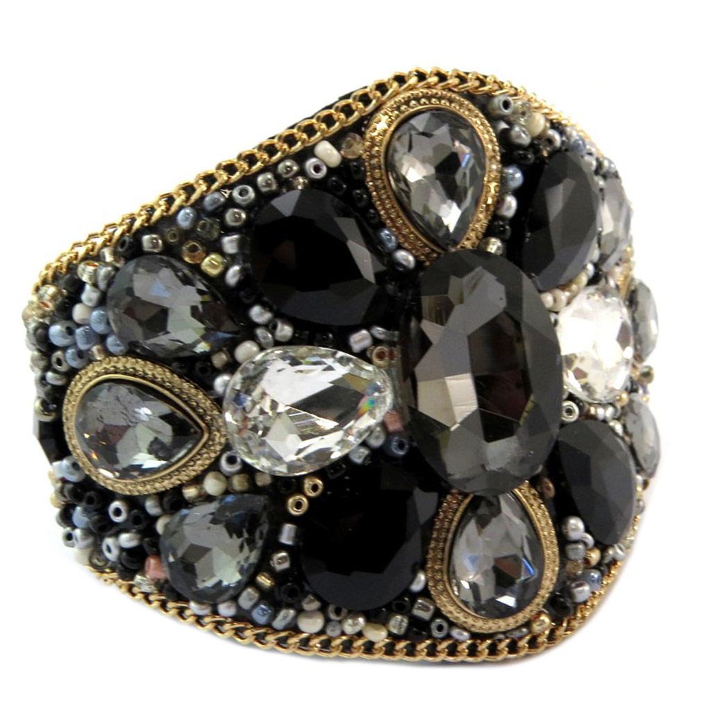 Bracelet créateur \'Bohemian Rhapsody\' noir doré - 19x6 cm - [P6567]