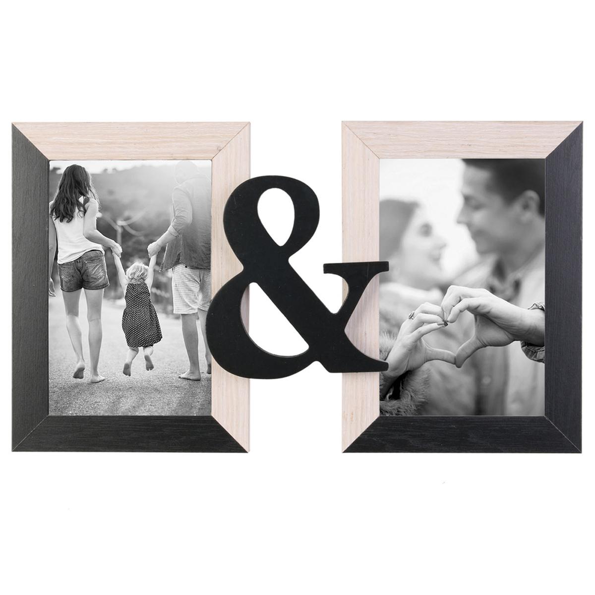 Cadre photo duo bois \'Toi & Moi\' beige noir (2 photos ) - 31x18 cm - [A1653]