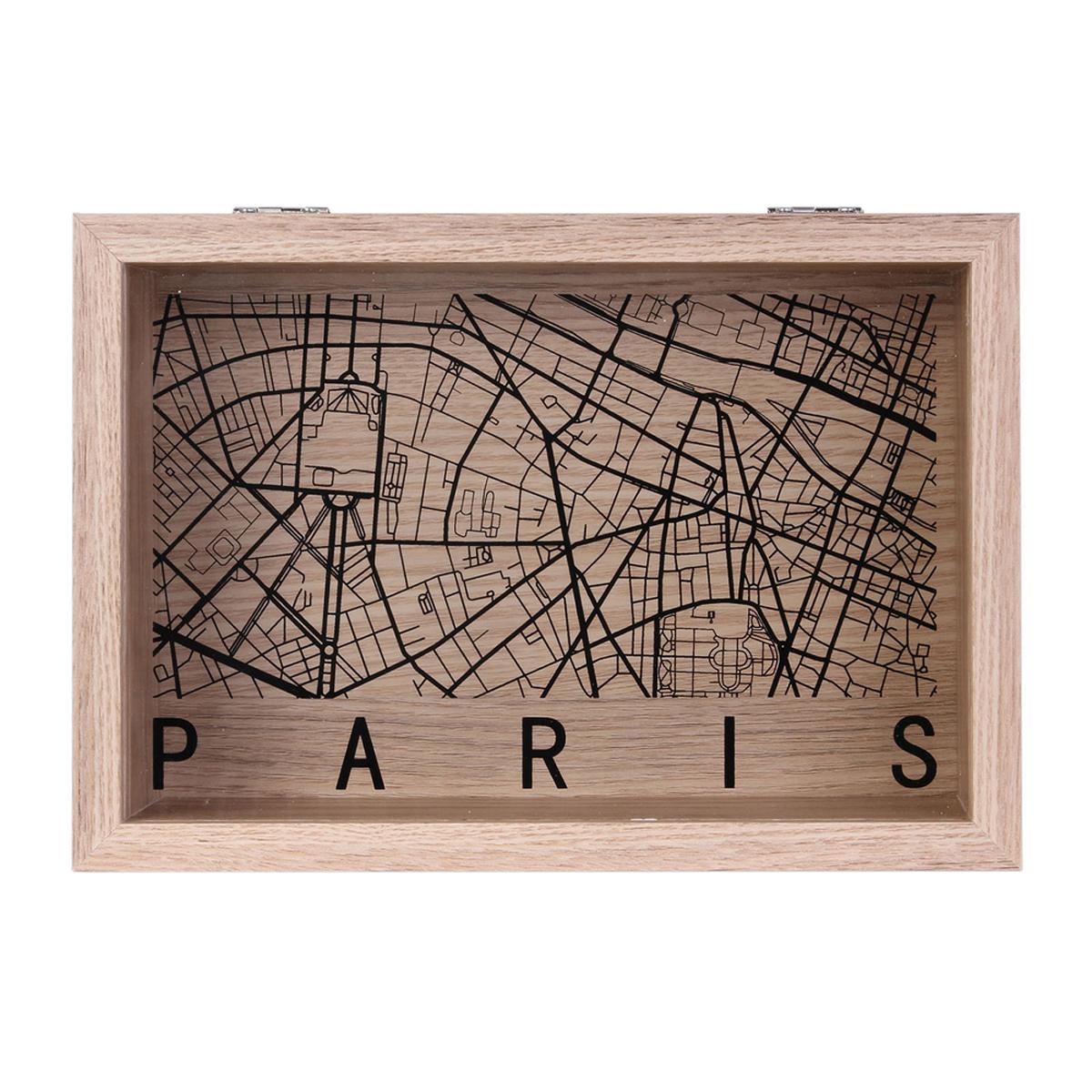 Boite de rangements bois \'Paris\' noir beige - 24x16x6 cm - [A1659]