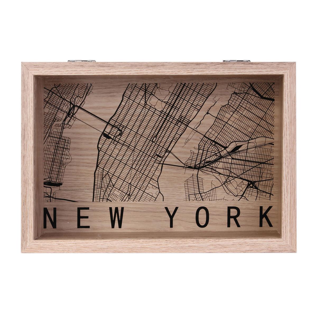 Boite de rangements bois \'New York\' noir beige - 24x16x6 cm - [A1660]