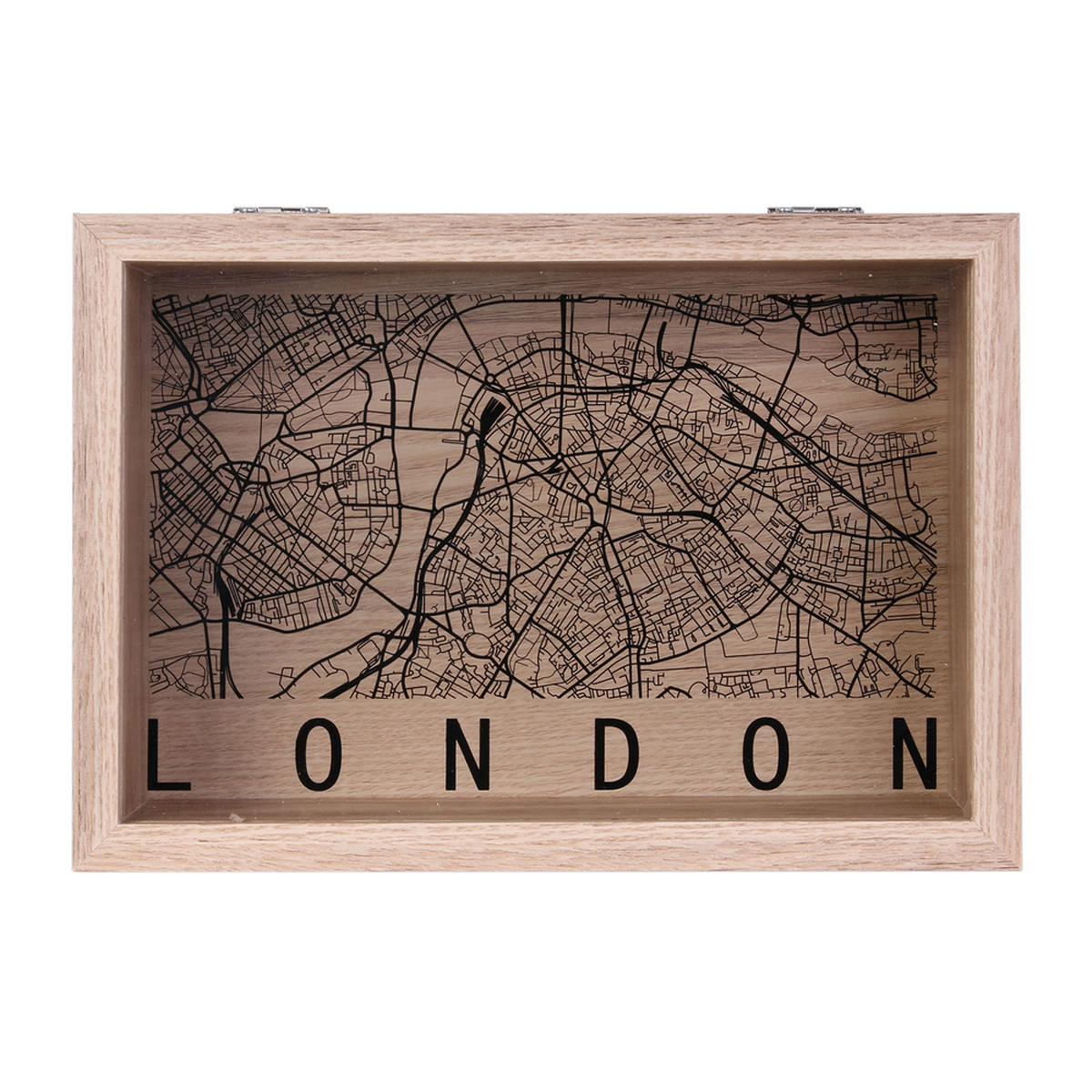Boite de rangements bois \'London\' noir beige (Londres) - 24x16x6 cm - [A1661]