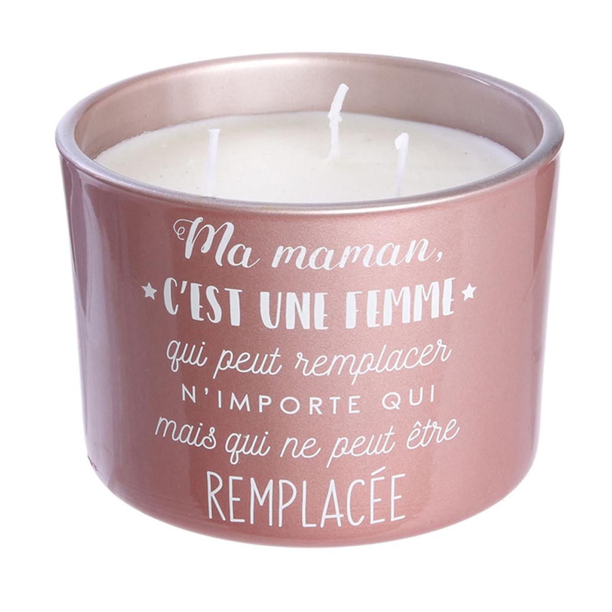 Bougie parfumée verre \'Maman\' rose (irremplaçable) 3 mèches - 11x8 cm (fleurs d\'été) - [A1665]