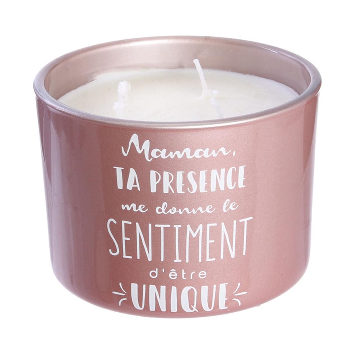 Bougie parfumée verre \'Maman\' rose (Ta présence me donne le sentiment d\'être unique) 3 mèches - 11x8 cm (fleurs d\'été) - [A1666]
