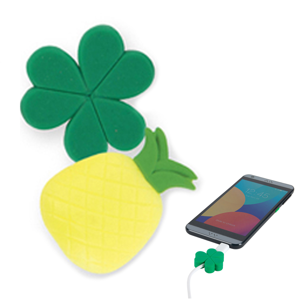 Duo protège-cables silicone \'Trèfle Ananas\' vert jaune - pour cable USB jack 35 mm - [A1686]