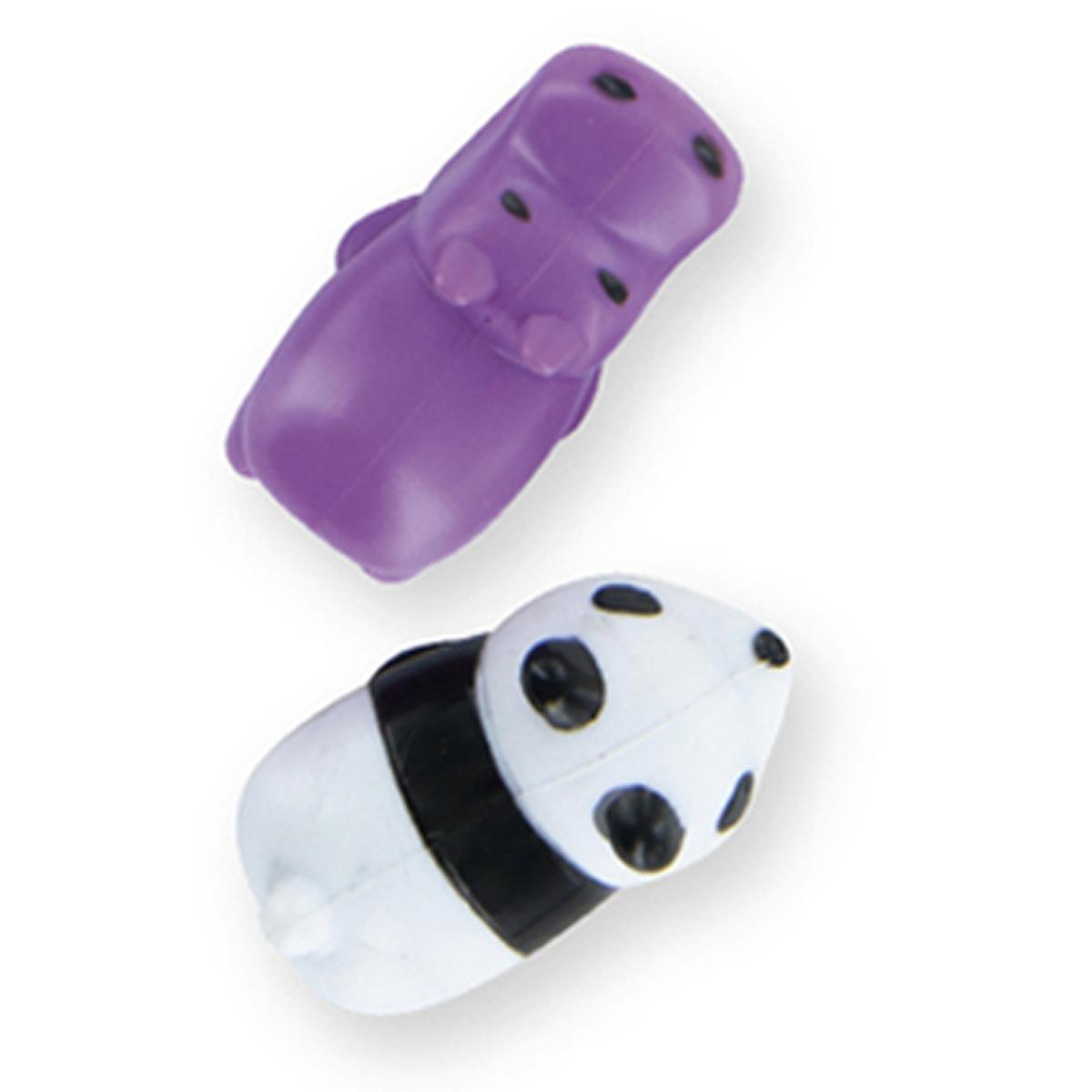 Duo protège-cables silicone \'Animaux\' (hippopotame, panda) violet blanc - pour cable USB jack 35 mm - [A1689]