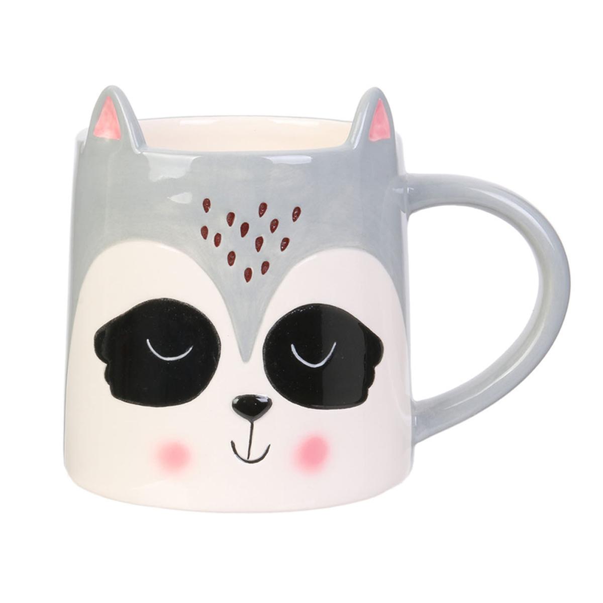 Mug céramique \'Animaux\' gris blanc (raton laveur) - 10x10 cm (40 cl) - [A1694]