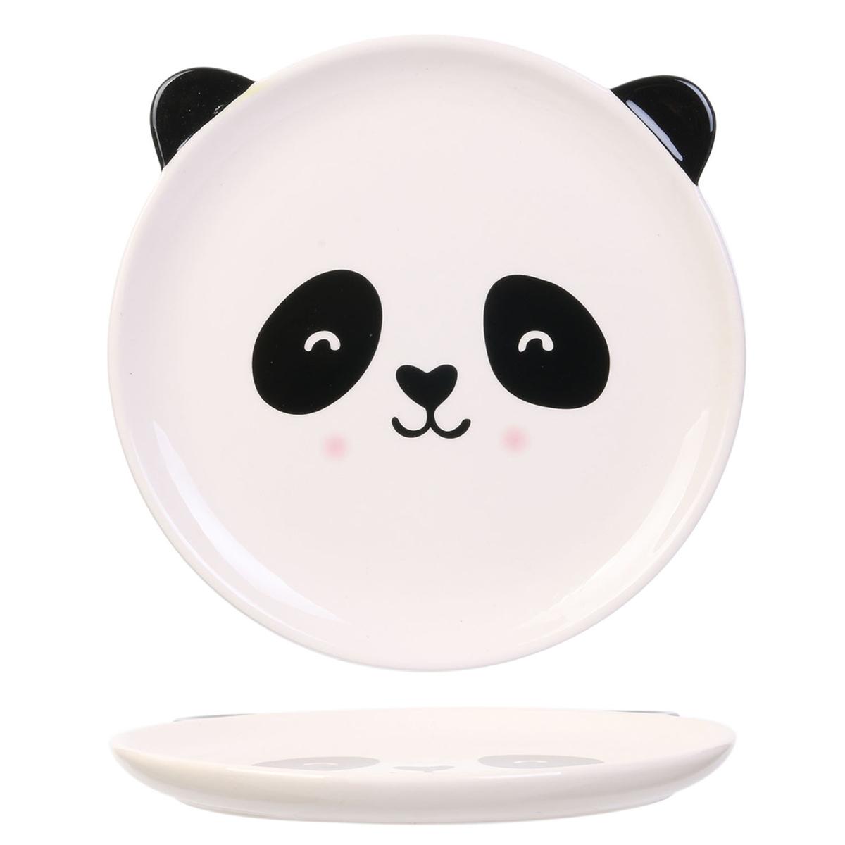 Assiette céramique \'Animaux\' blanc noir (panda) - 20 cm - [A1702]