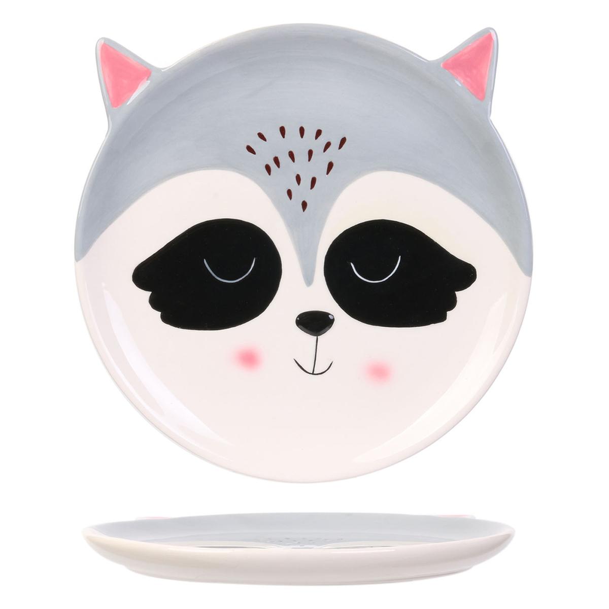 Assiette céramique \'Animaux\' gris (raton laveur) - 20 cm - [A1703]