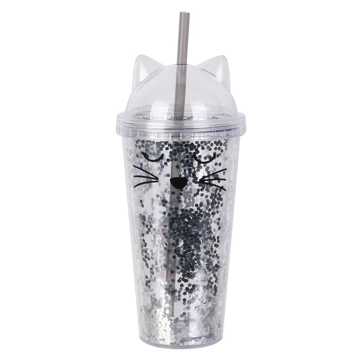 Mug de transport plastique \'Chats\' argenté paillettes - 24x9 cm (45 cl) - [A1707]