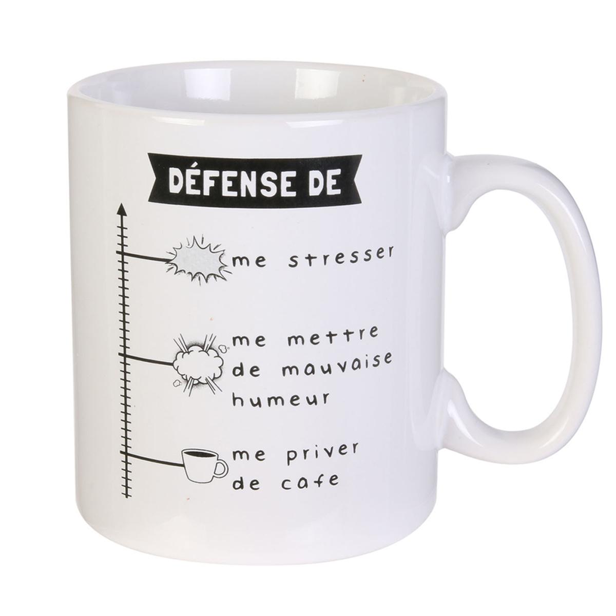 Mug géant céramique \'Messages\' blanc (Défense de me stresser ) - 13x11 mm (80 cl) - [A1709]