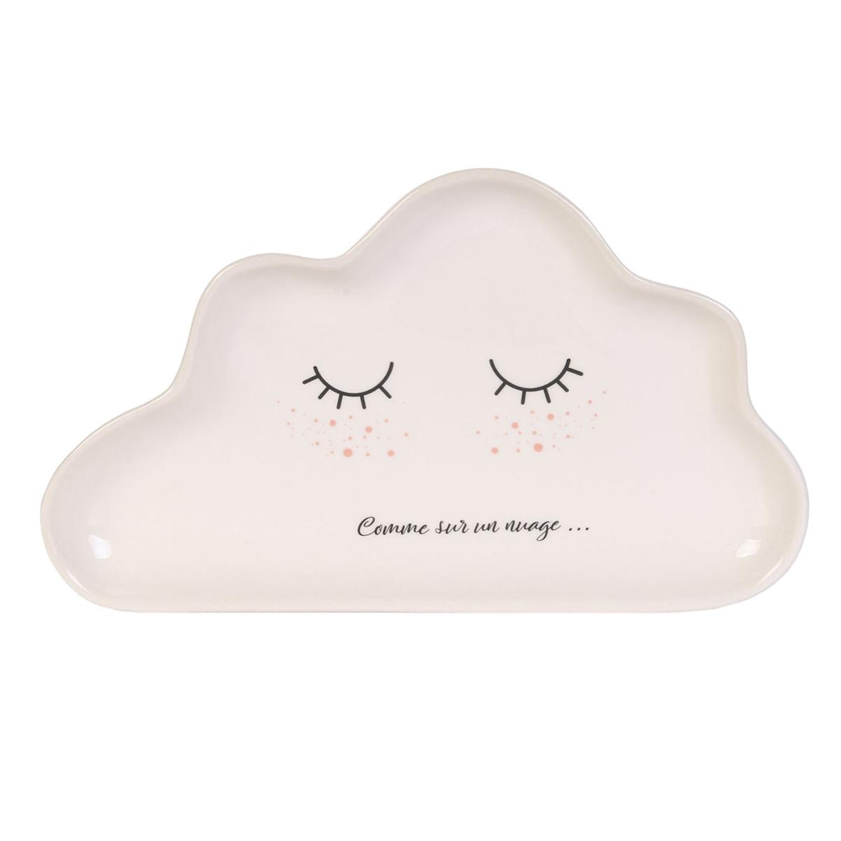 Coupelle vide-poches céramique \'Nuage\' blanc (Comme sur un nuage  ) - 24x14 cm - [A1712]