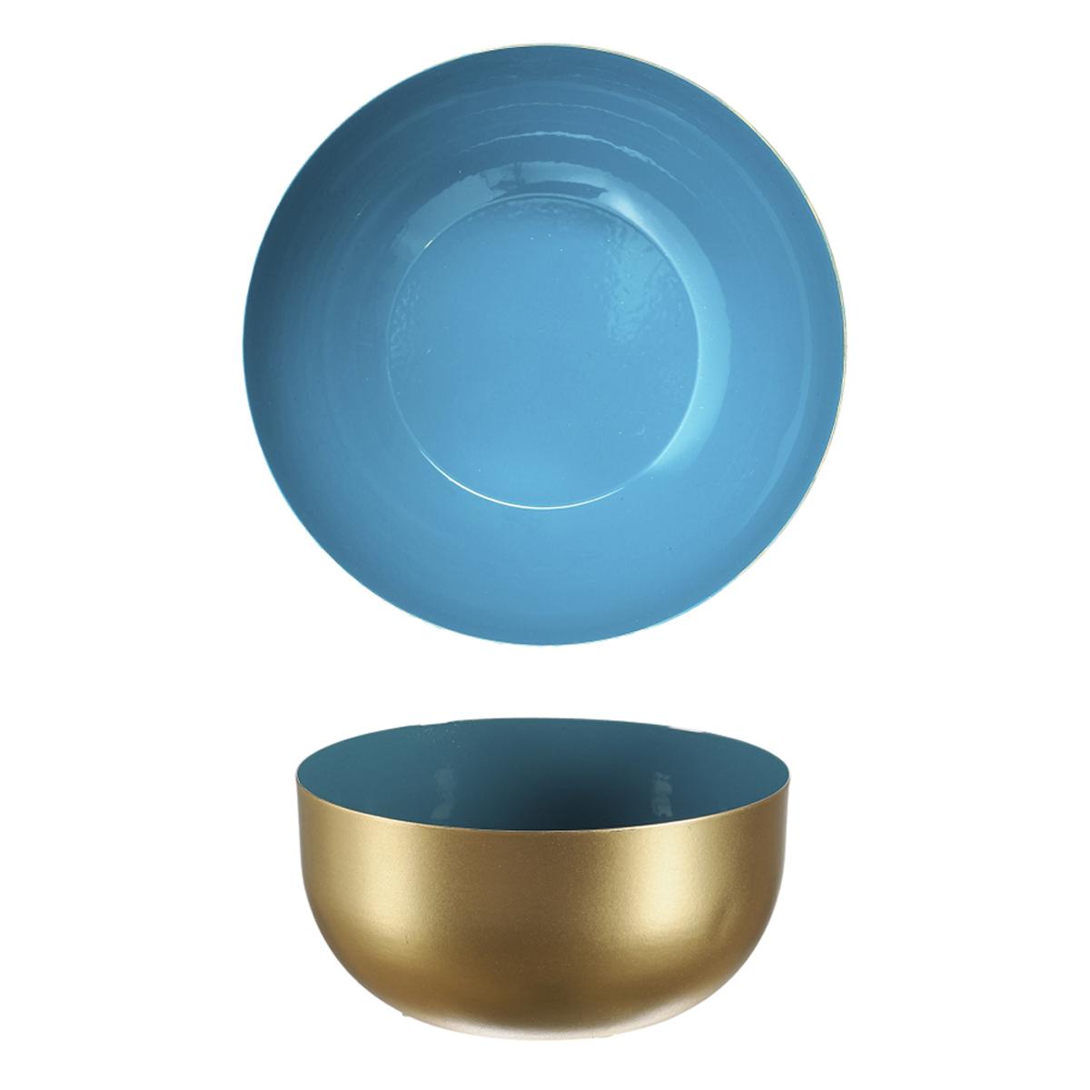 Coupelle métal \'Boho\' bleu doré - 12x6 cm - [A1716]