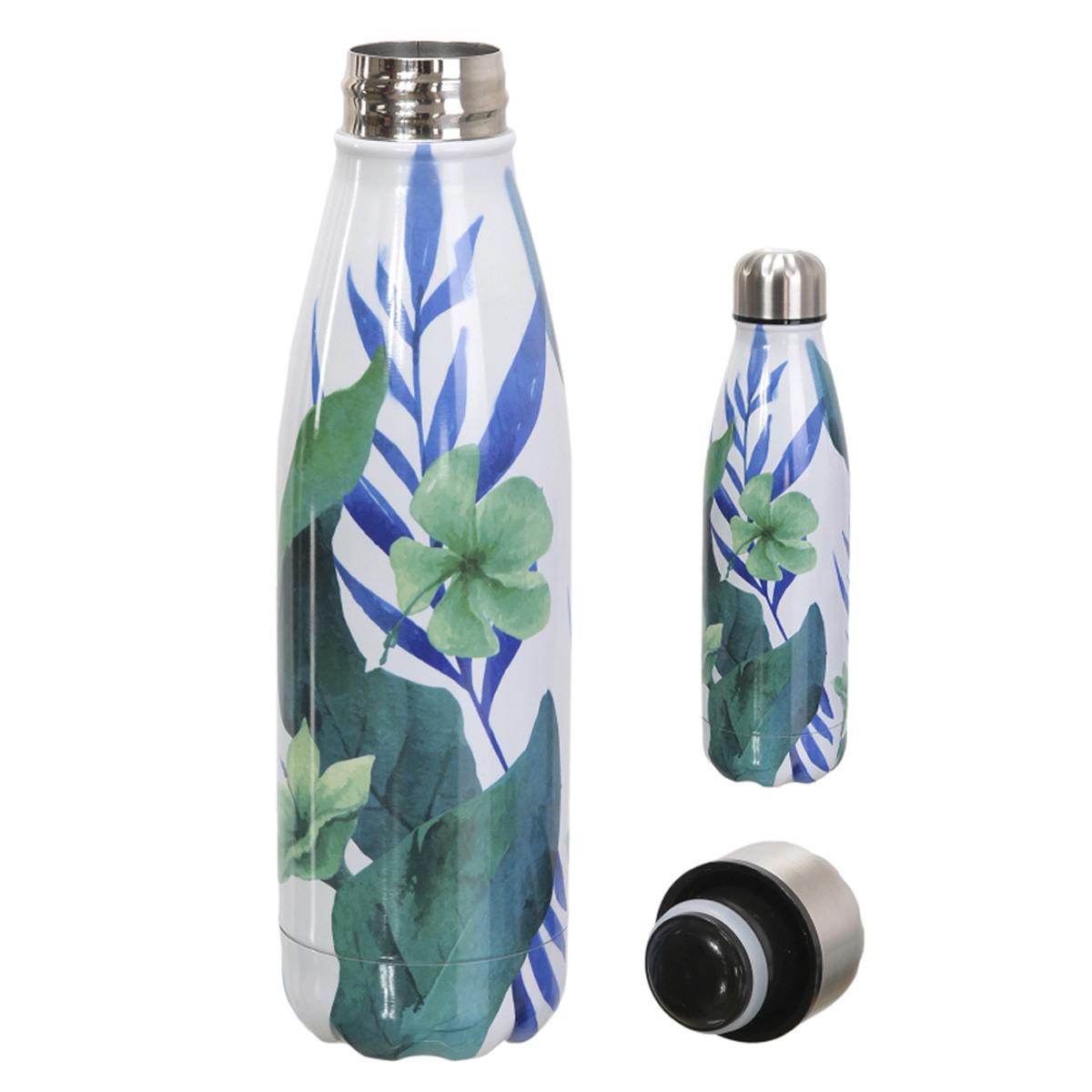 Bouteille isotherme design \'Floral\' bleu - 25x6 cm (500 ml) - [A1721]